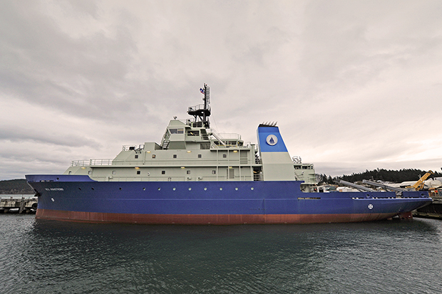 photo of the Research Vessel Neil Armstrong under a cloudy sky