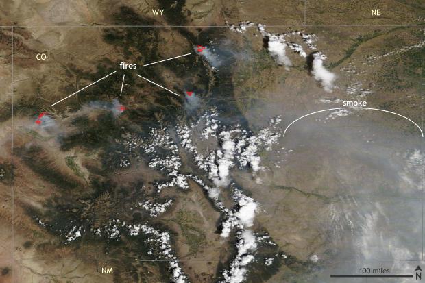 NASA MODIS Terra satellite, Colorado, August 16, 2020