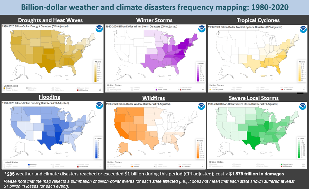 Screenshot of small US maps of the number and type of billion-dollar disasters by state