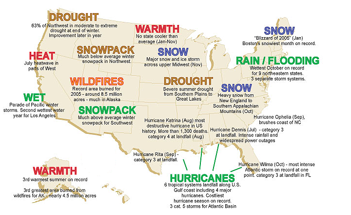 Map of significant U.S. weather & climate events in 2005