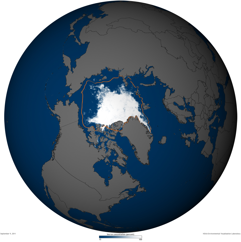 State Of The Climate Arctic Sea Ice Minimum NOAA Climategov - Us gove ice map