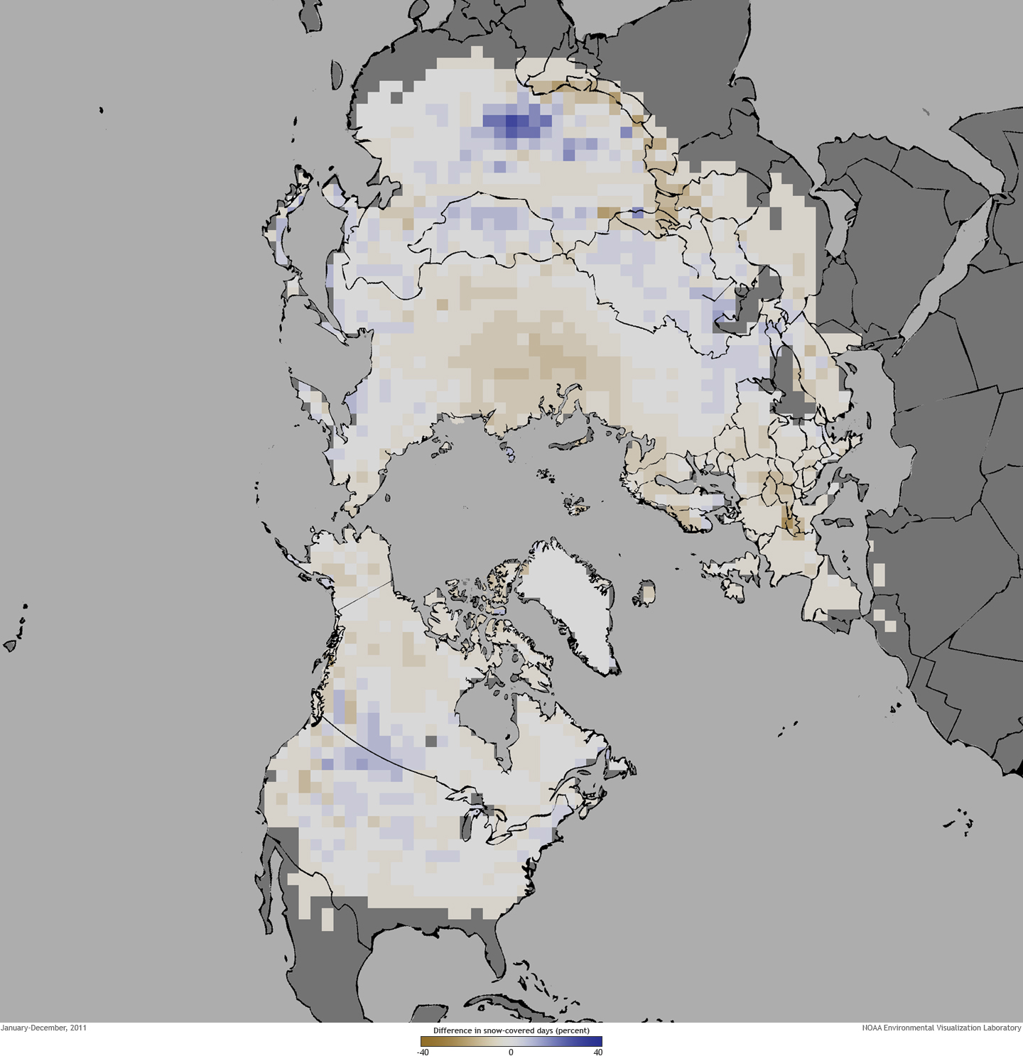 Map Of Snow Cover In Northern Hemisphere, 2011
