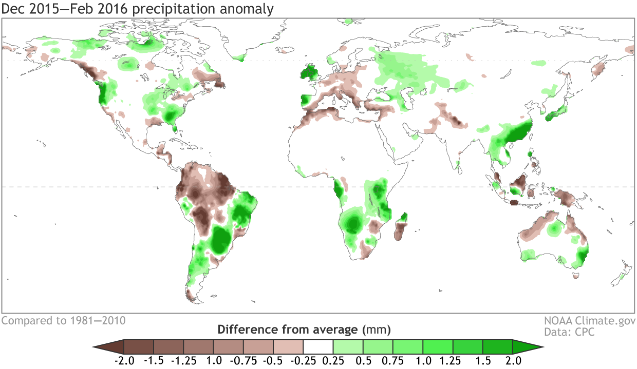 December 2015 February 2016 Rain And Snow Patterns Shown As The Difference From The Long Term Mean Climate Gov Figure From Cpc Data