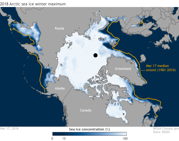 Polar map showing Arctic sea ice concentration at the winter maximum in March 2018