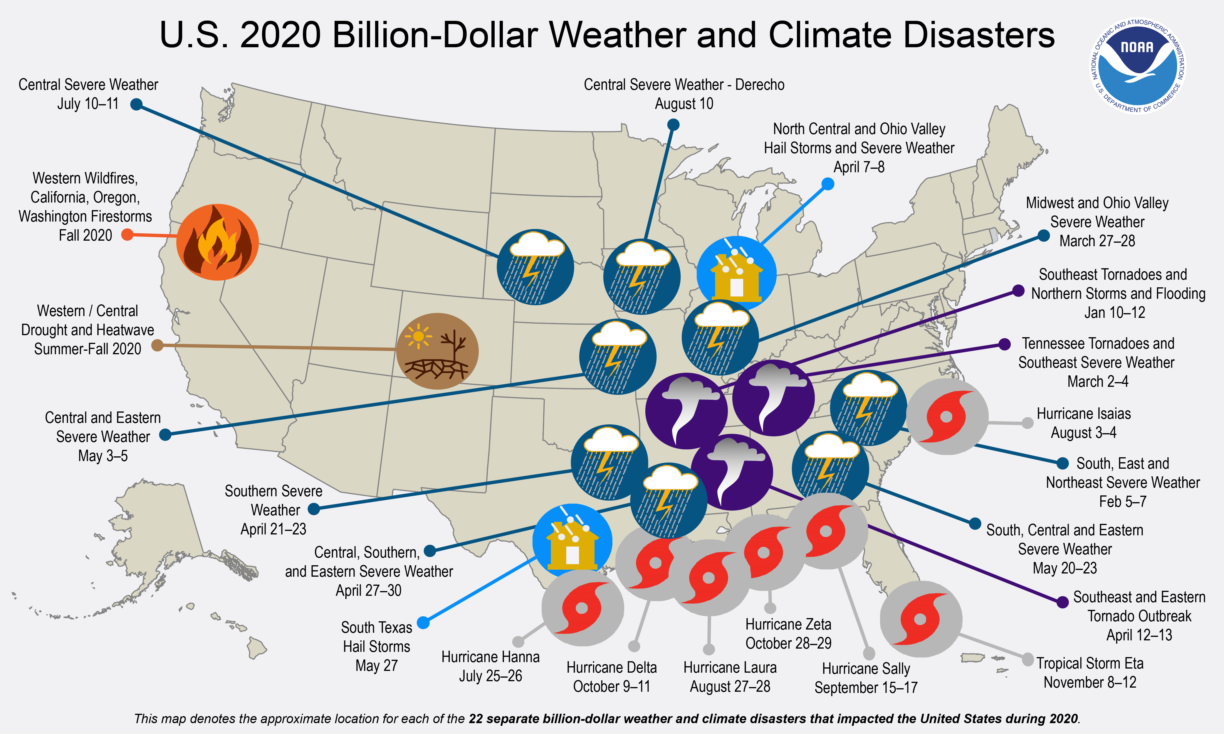 US map with icons showing the location and type of billion-dollar weather and climate disasters in 2020