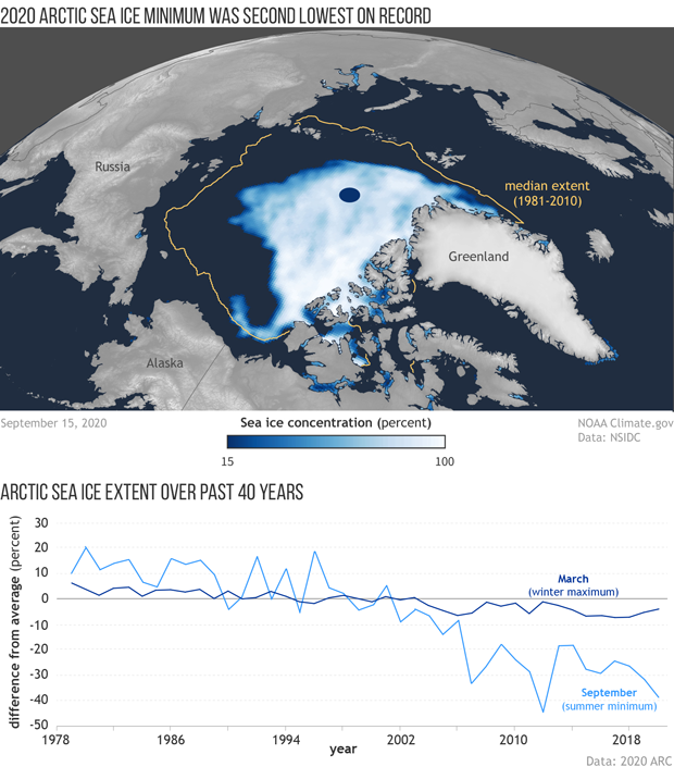 (top) Spherical map of Arctic sea ice concentration in mid-September 2020 (bottom) Graph of sea ice maximum and minimum over past 40 years