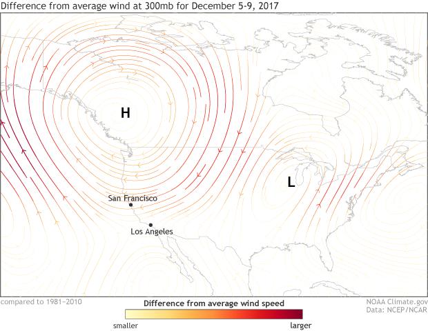 300mb, jet stream, anomaly, wind, Santa Ana