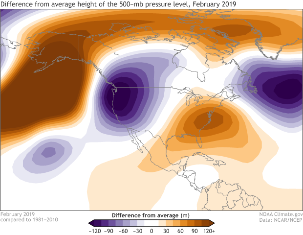 500mb height, anomaly, February, winter
