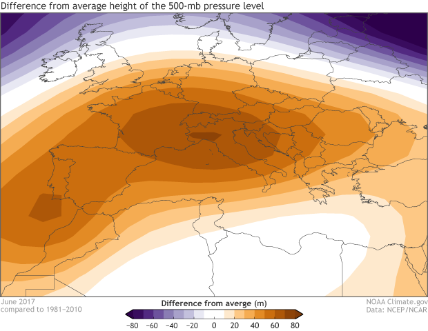 Europe, height anomaly, high pressure