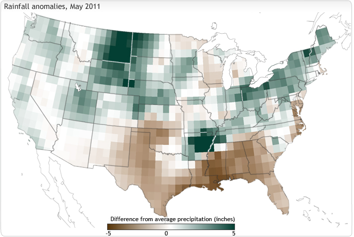 Rainfall anomalies, May 2011