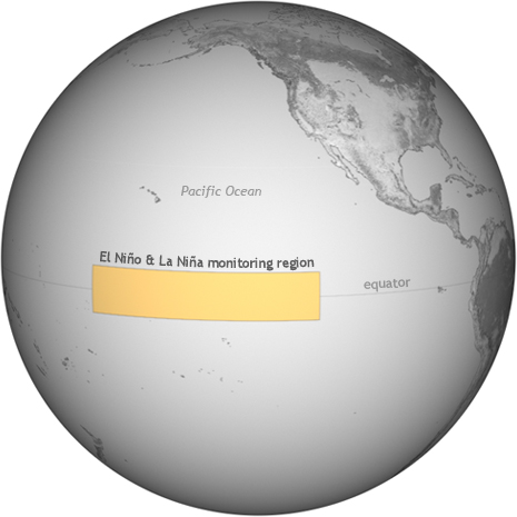 Globe showing El Niño / La Niña monitoring region