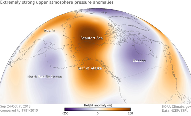 A map of the Arctic and North Pacific centered on Alaska showing air pressure anomalies in late September and early October 2018