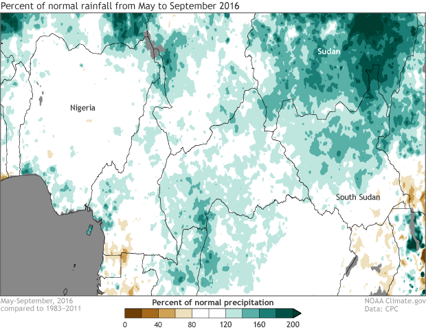 Rainfall, anomaly, percent of normal, Africa, West Africa, Nigeria, South Sudan