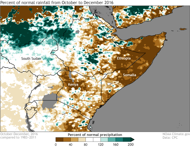 Greater Horn, Somalia, Ethiopia, percent of normal, rainfall, drought
