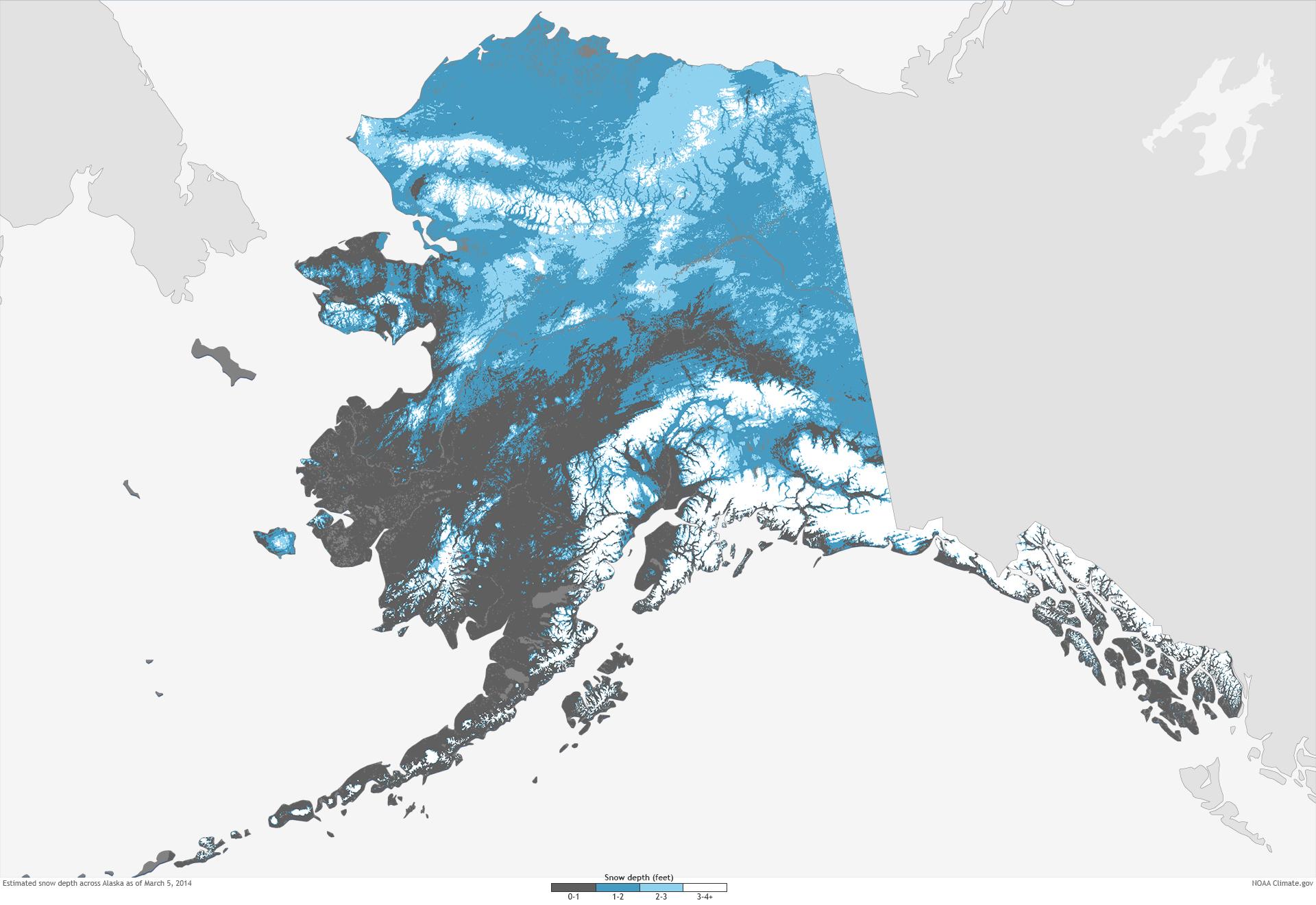 large snow depth map | NOAA Climate.gov