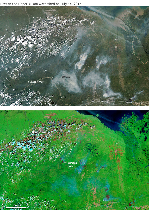 satellite images of Alaska (natural color and infrared-enhanced_ showing fires on July 14, 2017