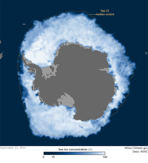 map of sea ice concentration on Sep.22, 2014 in the Southern Ocean
