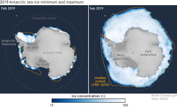 2019 minimum and maximum Antarctic sea ice extents