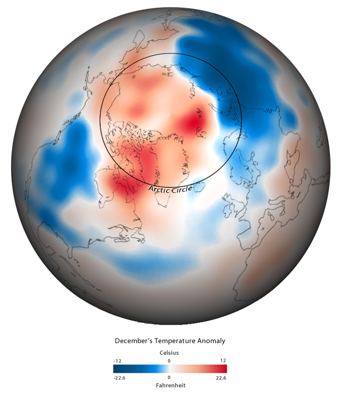 polar projection map of December 2009 temp anom