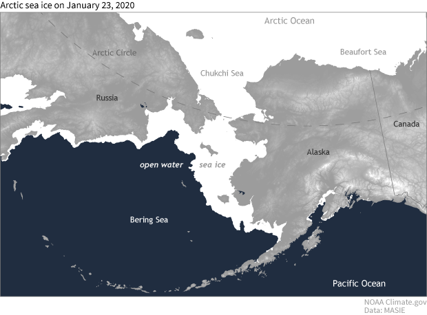 map of sea ice extent near Alaska in the Bering and Chukchi Seas on January 23, 2020