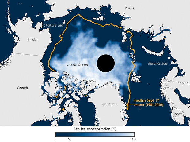 Map of Arctic sea ice concentration in September 2014 in shades from light blue to white