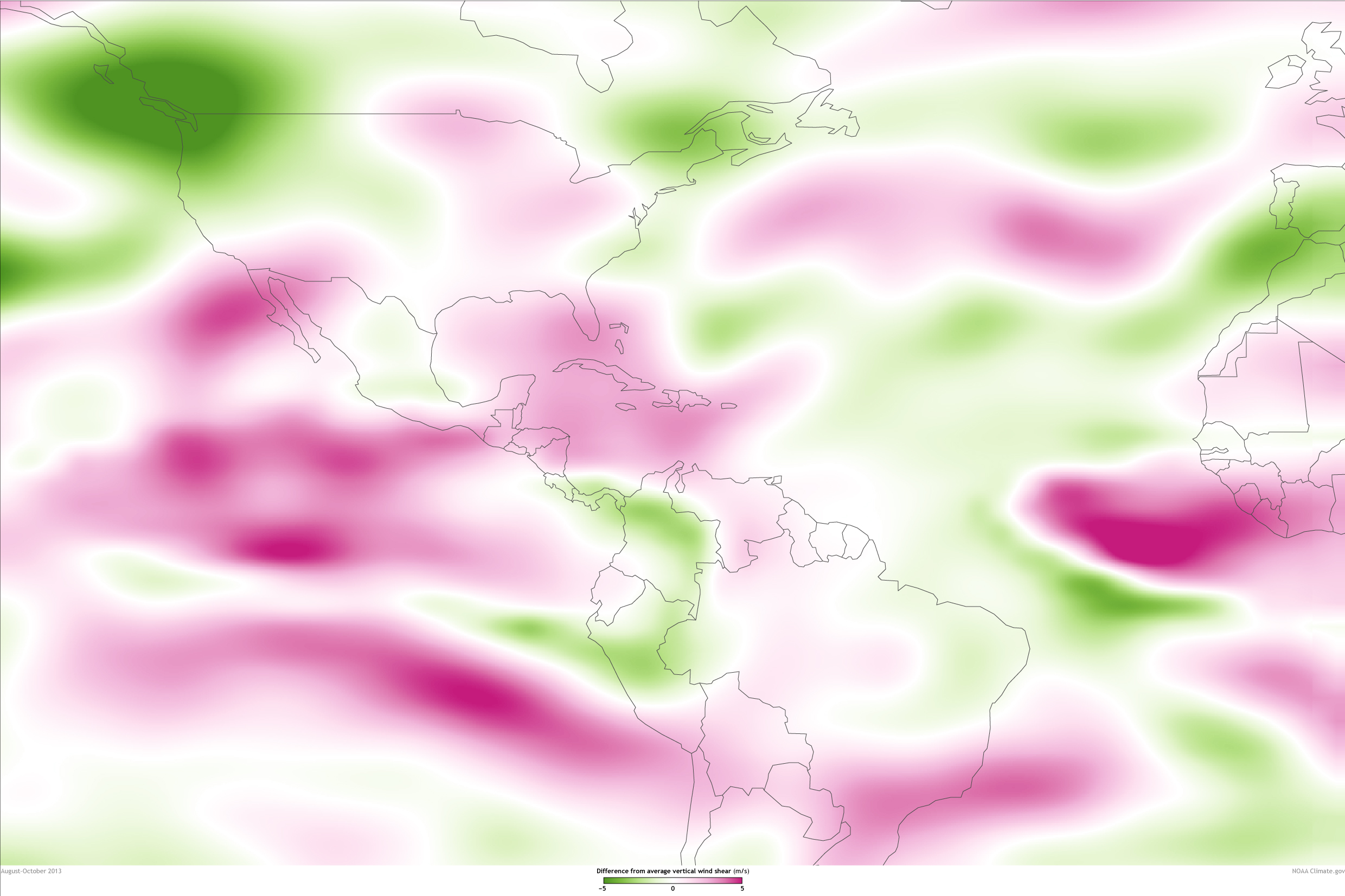 Large Wind Shear Map Noaa Climate Gov