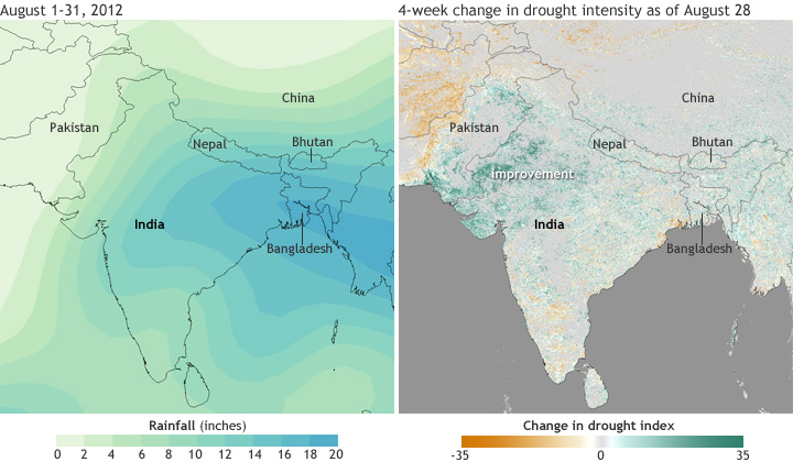 India Summer 2012 Rainfall vs Vegetation