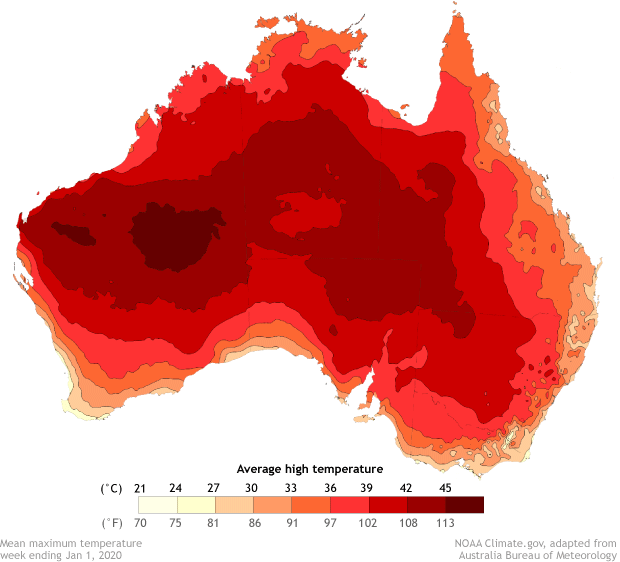 map of Australia showing average daytime high temperatures for the week ending January 1, 2020