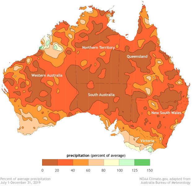 map of Australia showing percent of average precipitation for July-December 2019 in different colors