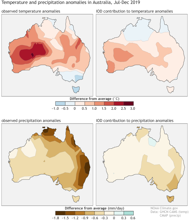 Four maps showing how observed temperature and precipitation across Australia from July-Dec 2019 compared to statistical patterns you'd expect during positive Indian Ocean Dipole