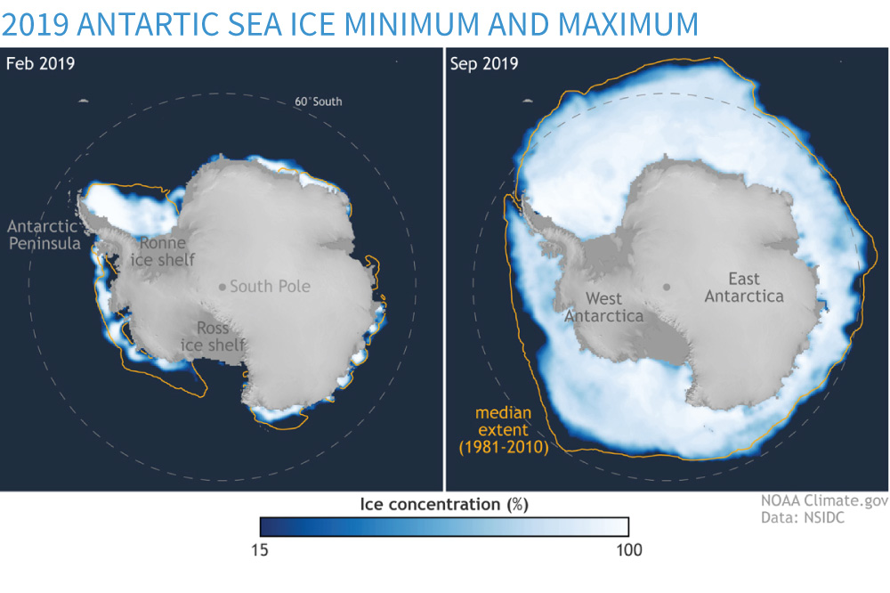 Maps of minimum and maximum Antarctic sea ice