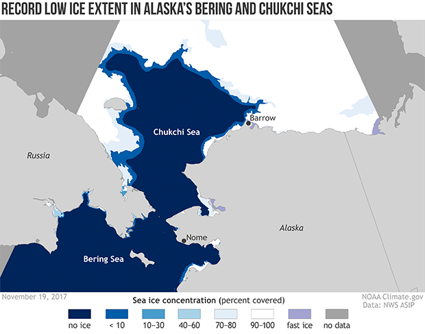 Map of Bering Strait and Chukchi Sea showing percent ice cover