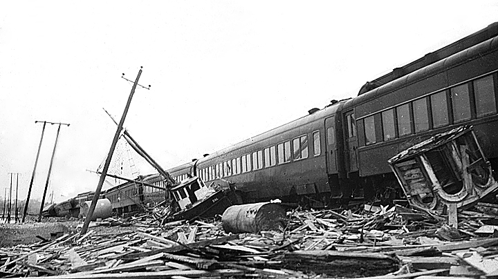 Debris next to train