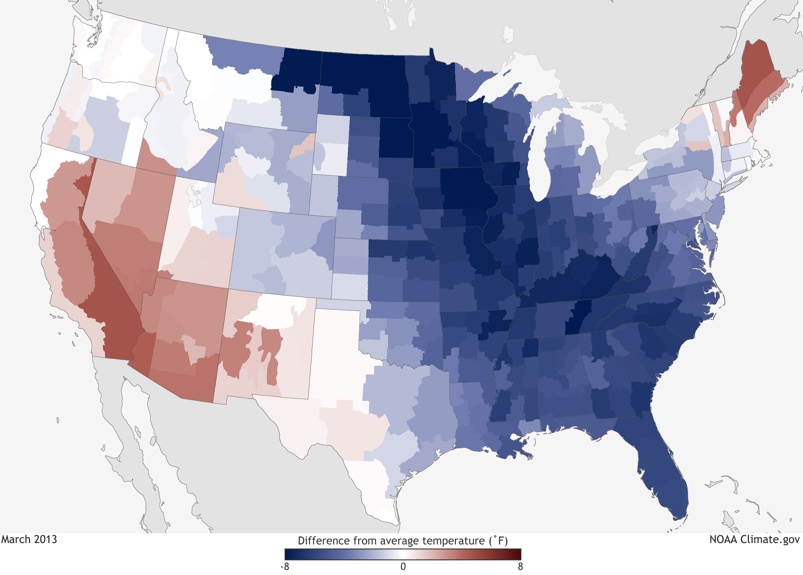 Departure from Average Temp - March 2013