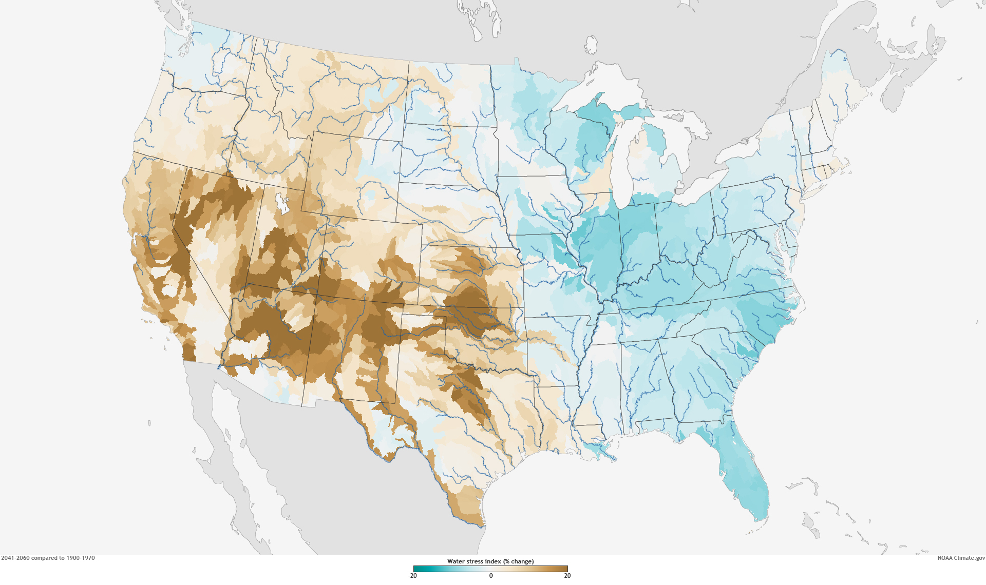 Climate Change To Increase Water Stress In Many Parts Of US - Image of us map at 2040