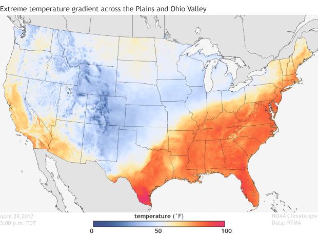 Temperature, Satellite, United States, Spring