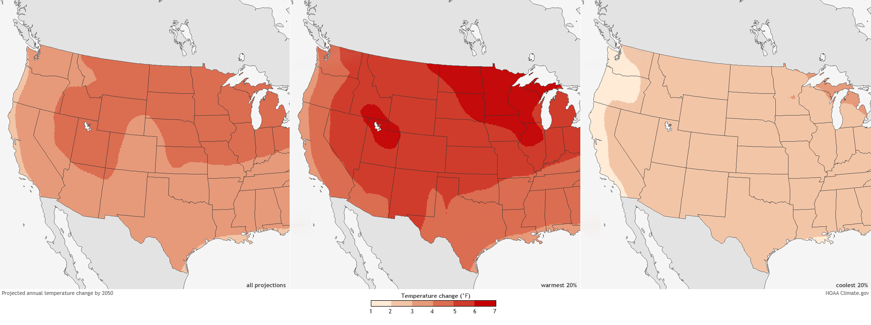 Future Temperature And Precipitation Change In Colorado NOAA - Annual High And Low Temperatures Us Map