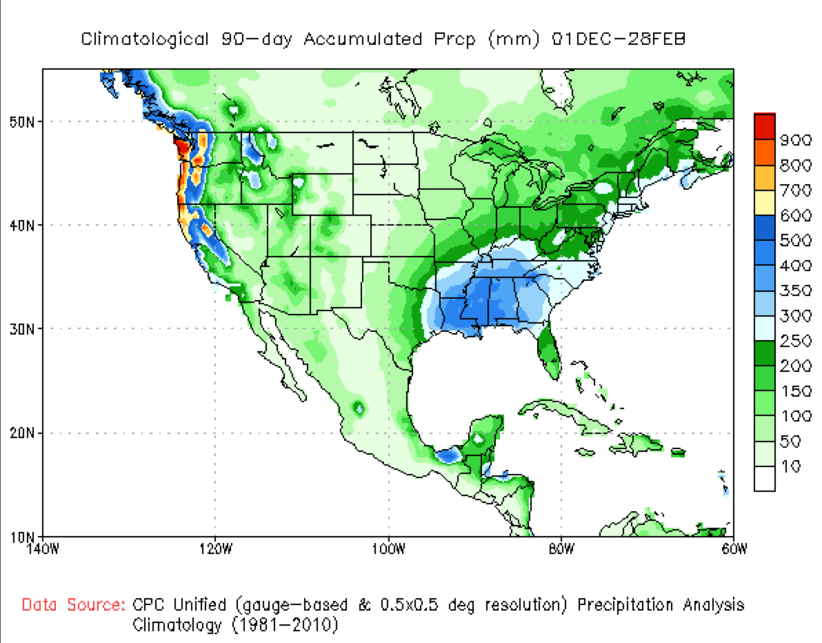 Recent Precipitation And Temperature Including Normals And - United states precipitation map