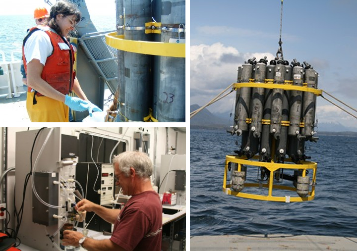 Photo montage of ocean observation instruments