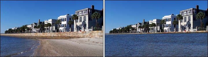 Comparison pair of photos showing Charleston at low tide versus what it might look like with several feet of sea level rise