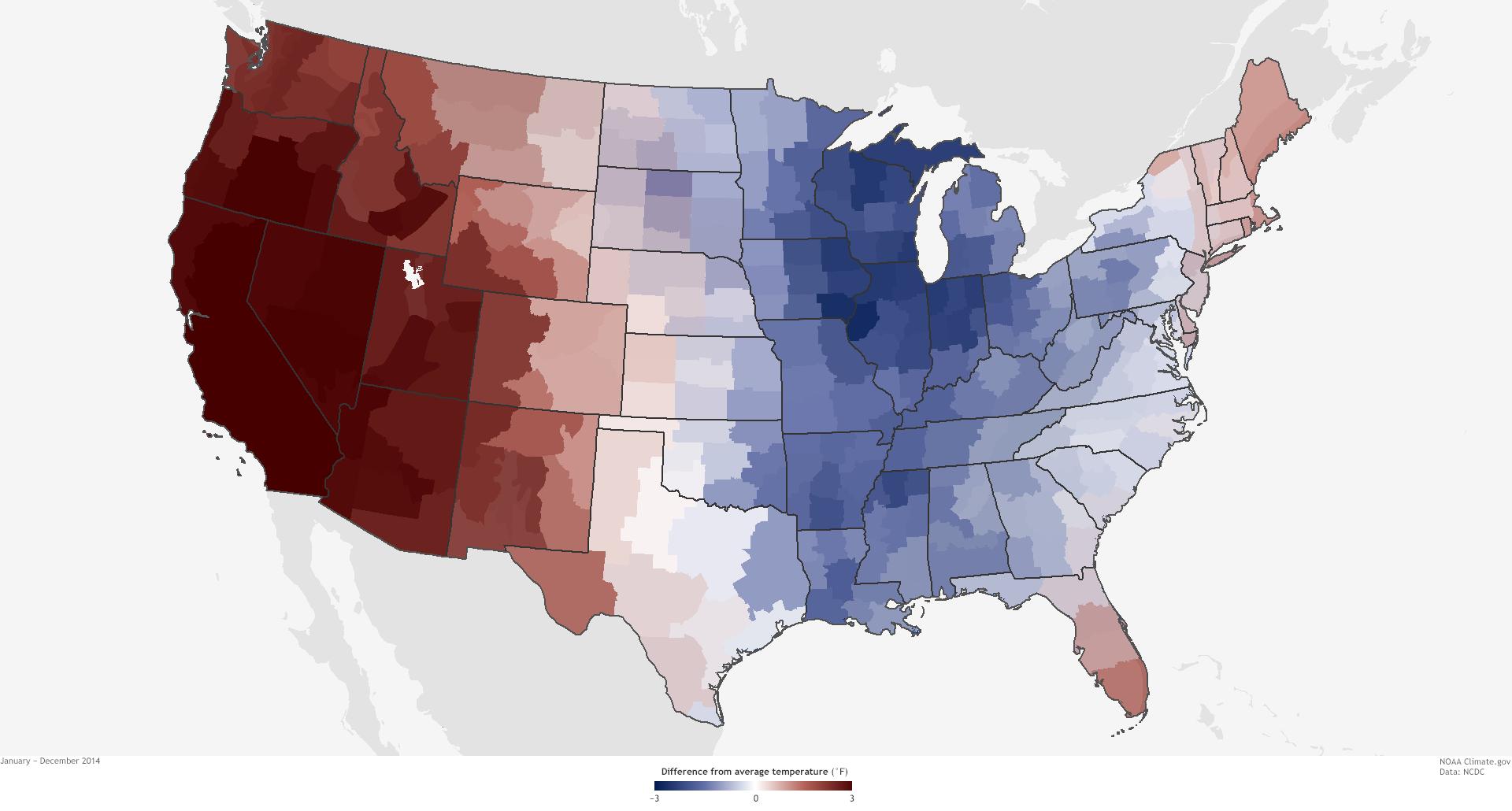 National Temperature Recap NOAA Climategov - Us map with temps