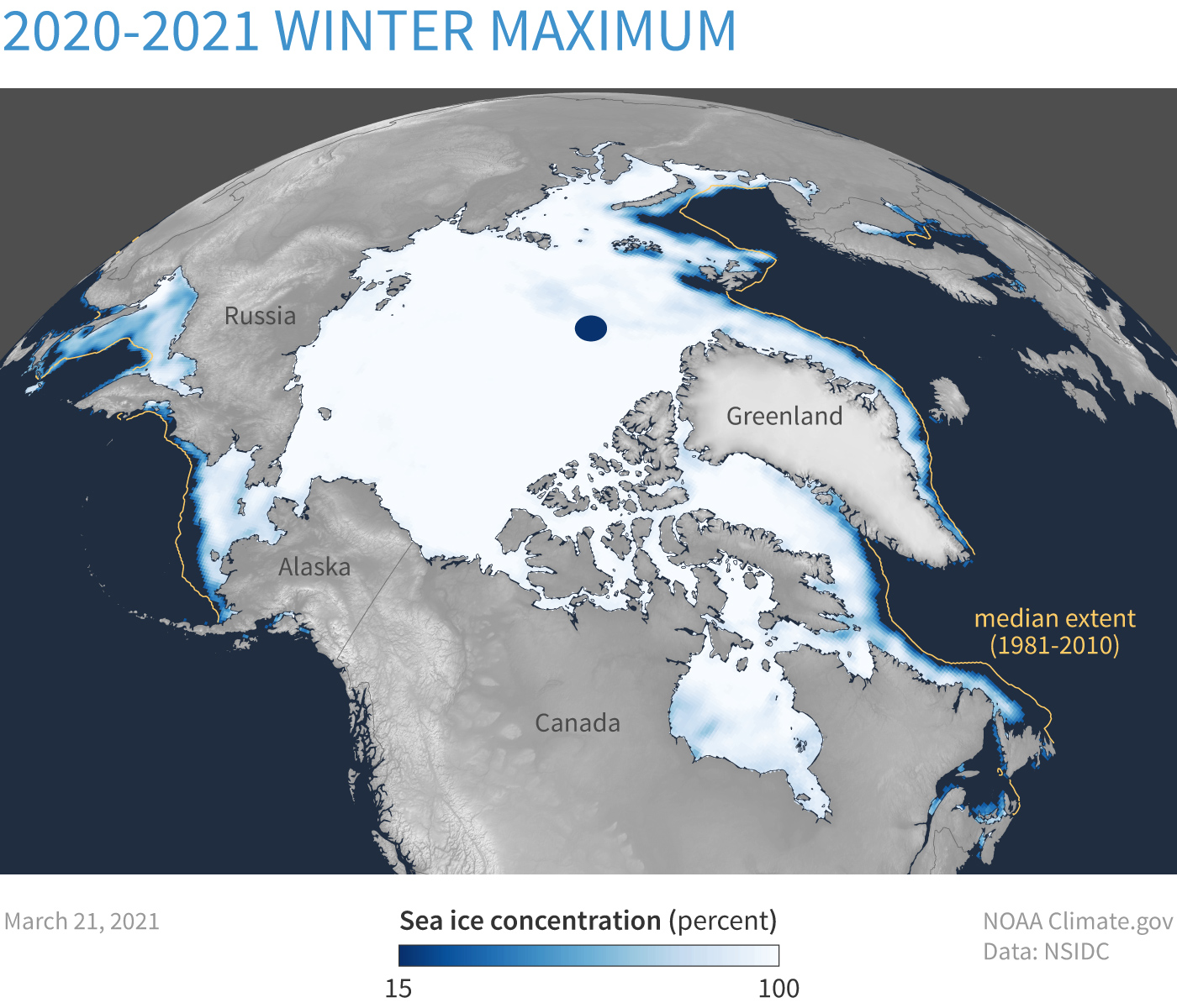 Spherical map of Arctic showing ice concentration on March 21, 2021