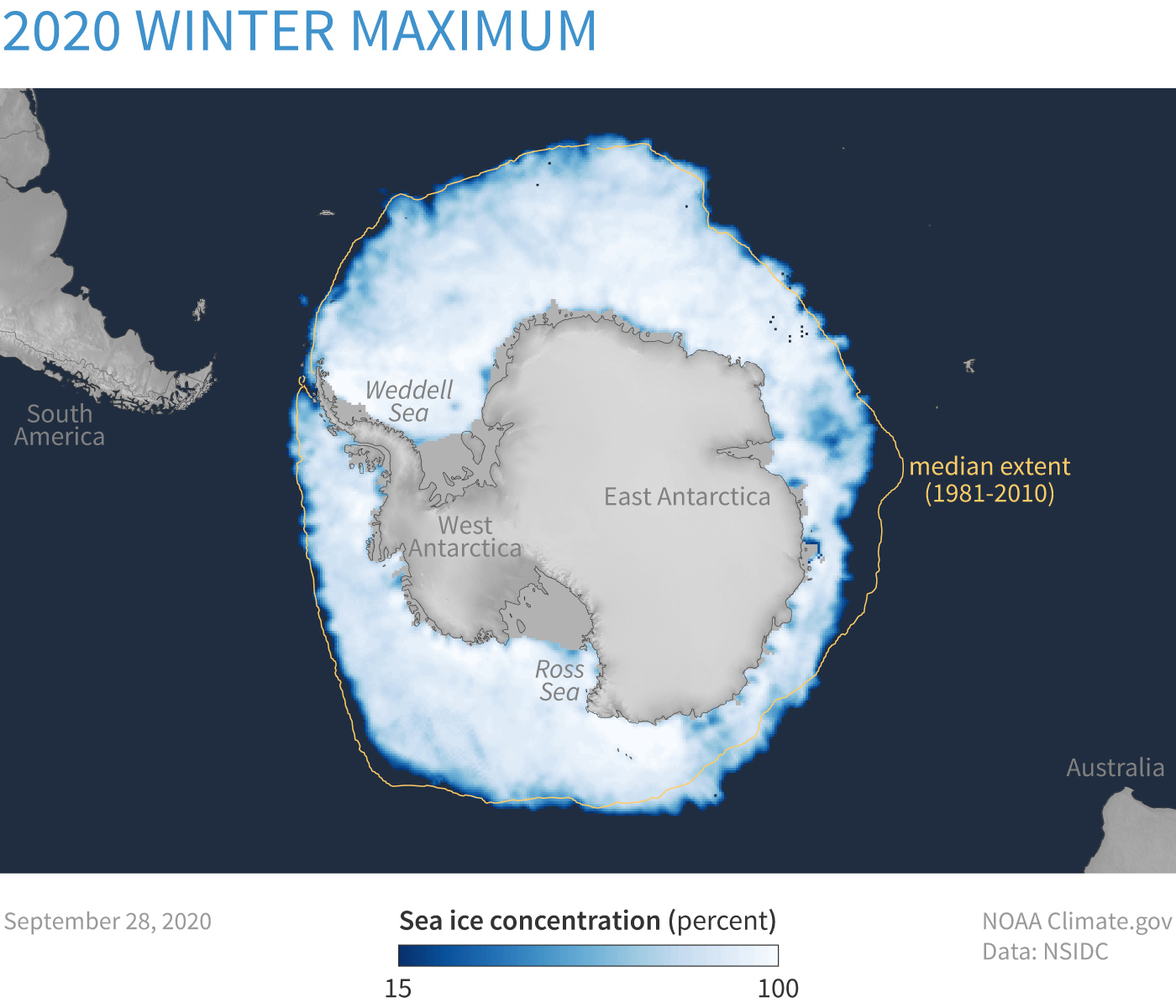 Map of sea ice concentration around Antarctica on Sept 28, 2020