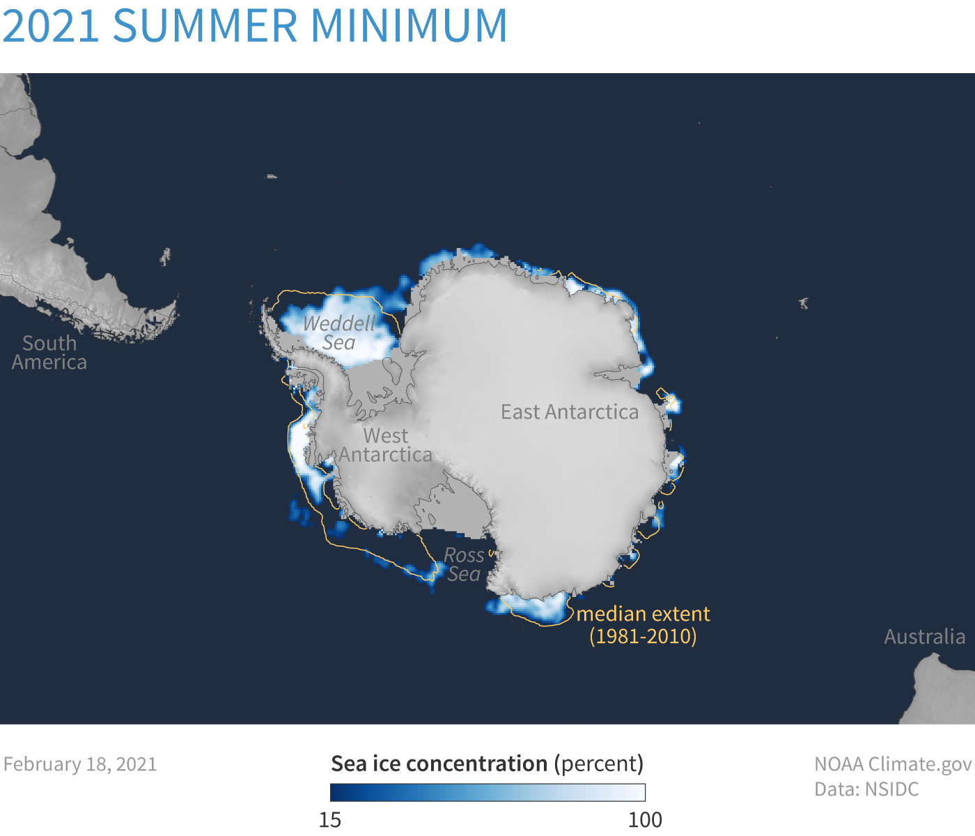 Map of sea ice concentration around Antarctica on February 18, 2021, near the summer minimum