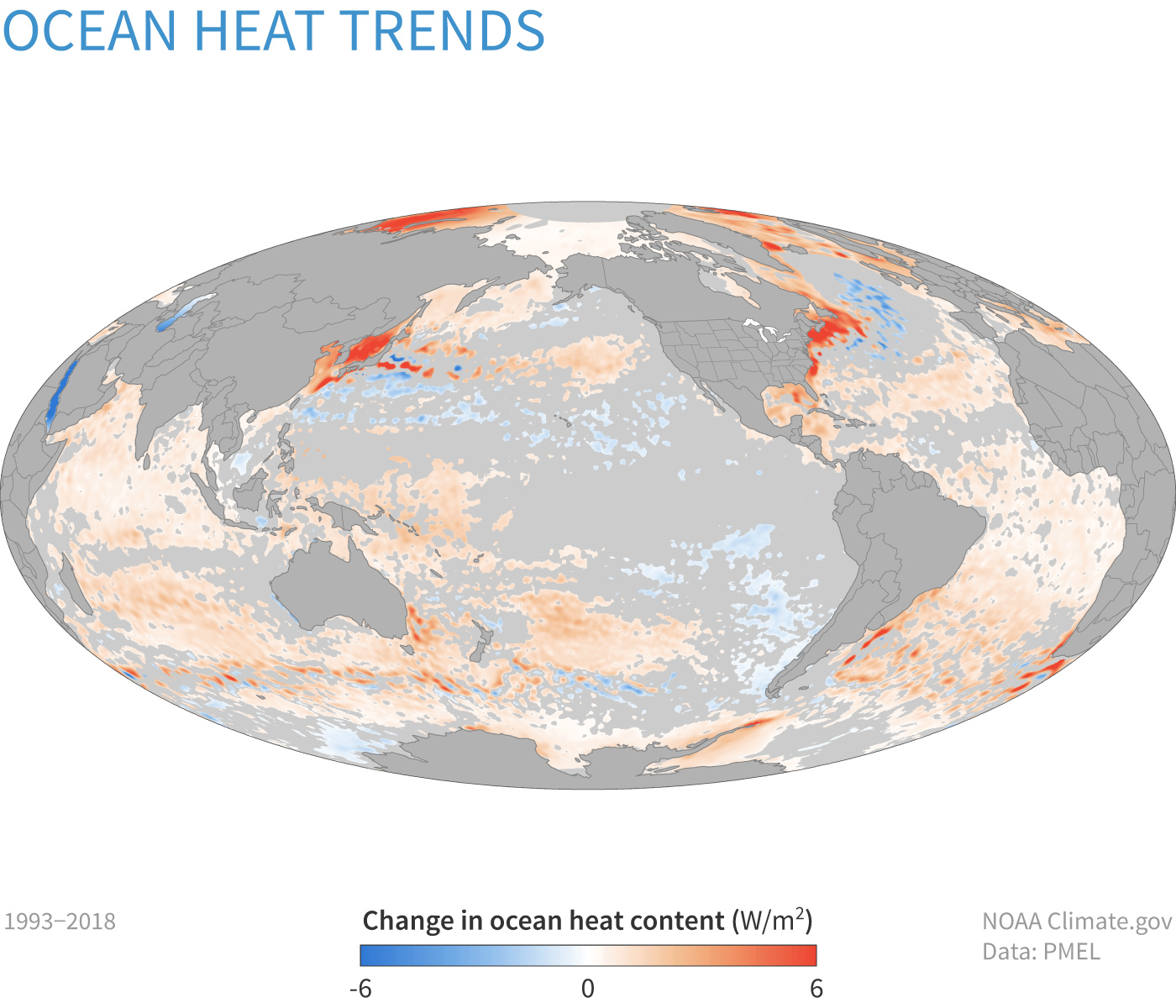 Global map centered on Pacific Ocean showing the trends in ocean heat content from 1993–2018. Orange shows increases in heating; blue shows decreases.