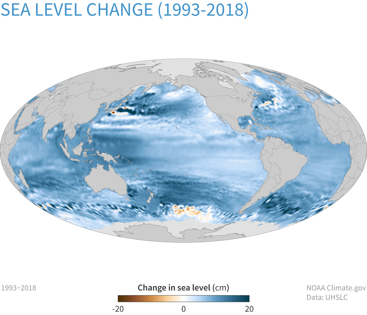Map of global sea level change between 1993 and 2018, with increases shown in shades of blue, and decreases shown in shades of brown.