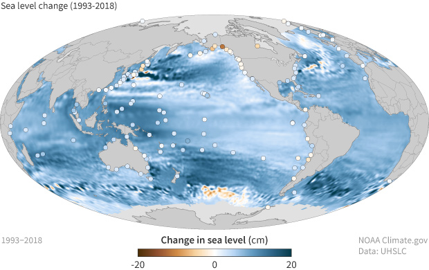 Global map of mean sea level change since 1993 with dots showing local sea level change on land