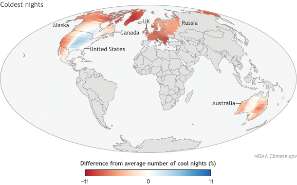 Global map of difference in cool nights frequency 2014