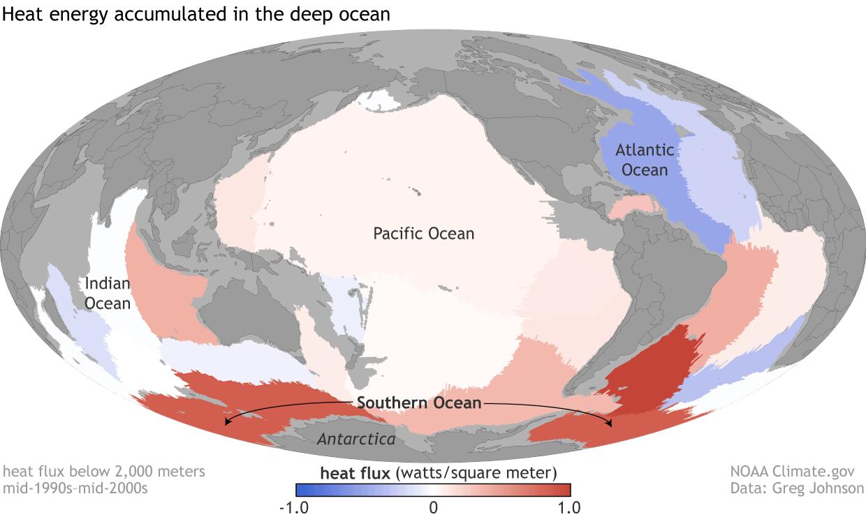 Global map of deep ocean heat flux (positive and negative) by ocean basin