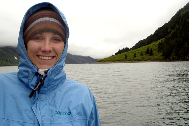 Danielle Claar bundled up against the chill in front of Alaska's Kasitsna Bay
